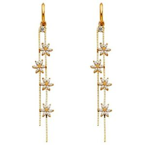 Image Is Loading Huggies Dangle Earrings Solid 14k Yellow Gold Flower