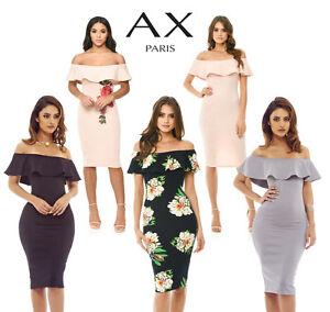 7053da8433 Image is loading AX-Paris-Womens-Off-Shoulder-Frill-Midi-Bodycon-
