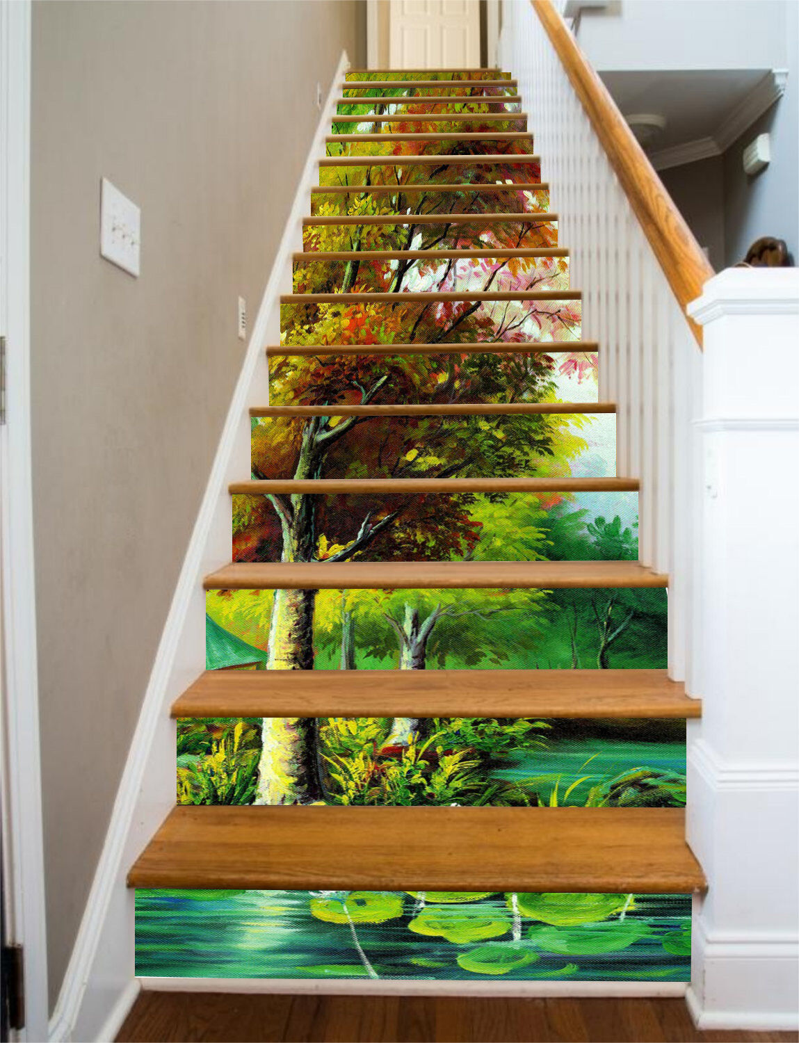 3D Pond forest 45 Stair Risers Decoration Photo Mural Vinyl Decal Wallpaper UK