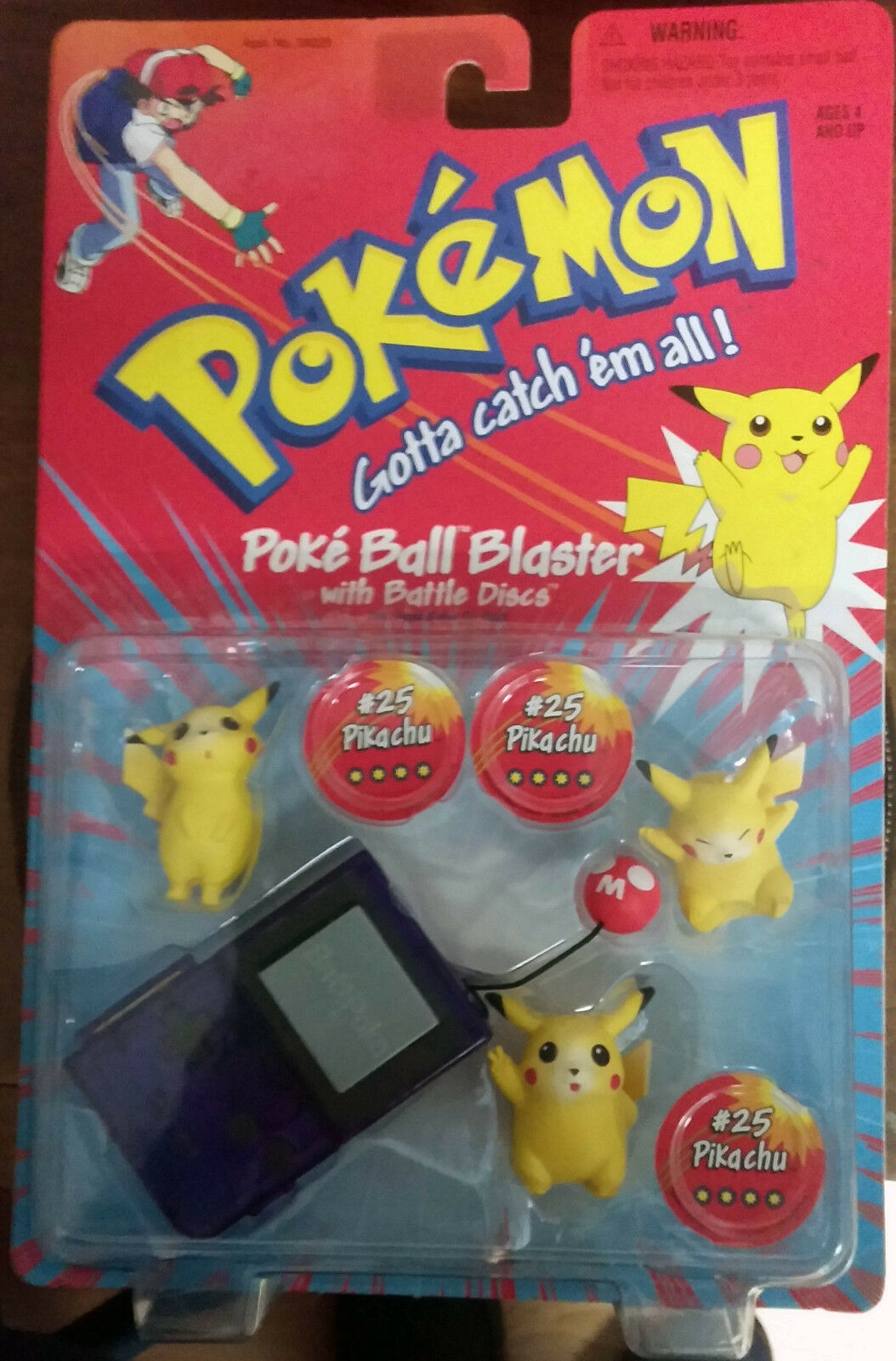 Vintage POKEMON Poke BALL BLASTER with battle discsTHREE PIKACHU  25 by Hasbro
