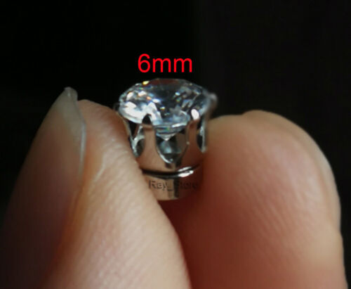 4mm//5mm//6mm Men Unisex CZ Studs Magnetic Earrings Silver Plated Non Piercing