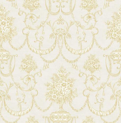lueur lianes vaisselle optique Floral Toffee Luxe Papier Peint Papier peint crème