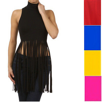 New! Fringe Slashed Cutted Down Turtle Neck Cropped Women Fashion Top S M L