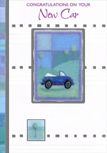 Blue Convertible in Silver Foil Frame New Car Congratulations Card