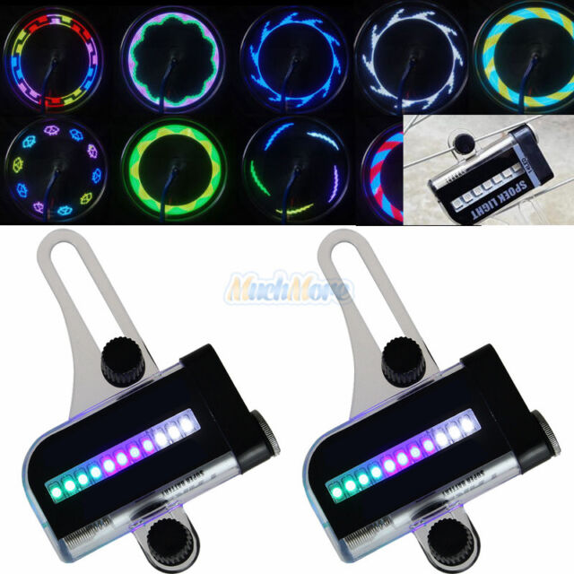 2X 14//22LED Motorcycle Cycling Bicycle Wheel Signal Tire Spoke Light 30 Changes