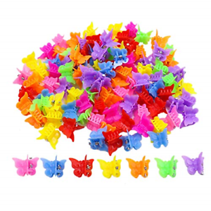 100x Cute Butterfly Shape Mini Hair Claw Small Clips Girl Kids Women Headdress