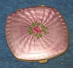 "Vtg Elgin American Pink Enamel Flower 14-K Gold Plated 2 x 1/4"" Rouge Compact"