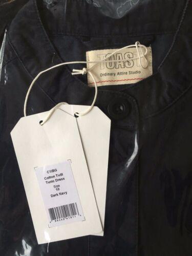 sergé coton tunique Bleu 10 en Uk Robe Taille de grillé marine Couleur mwN80n
