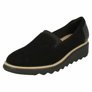 moderate price durable service official store Details about Ladies Clarks Sharon Dolly Black Suede Leather Casual Slip On  Shoes D Fitting