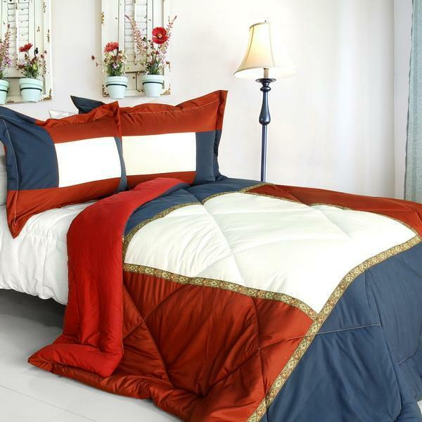 King and Queen Down Alternative Comforter Set twin queen or king - rot Blau