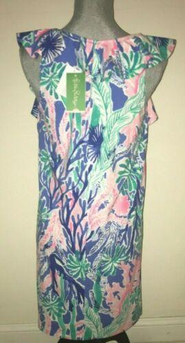 LILLY PULITZER Esmeralda Dress JET STREAM size M or L NWT Ruffle $168