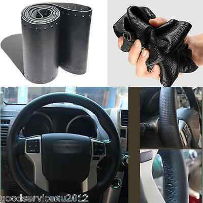 Black genuine leather handmade Steering Wheel Cover needle thread fit For Toyota
