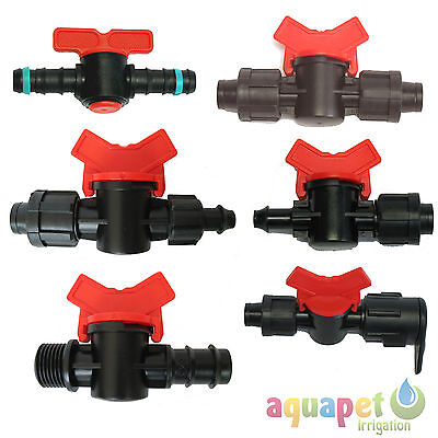 Irrigation Hose Tap Valves Various Sizes and Ends - 8mm to 20mm