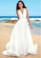 V-neck Beach Wedding Dress White Ivory Bridal Gown Custom Size 4 6 8 10 12 14 16