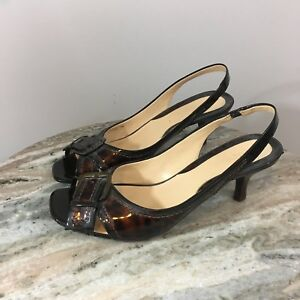 3f4767f6486 COLE HAAN Size 7.5 B Tortise Patent Leather Slingback Women's Dress ...