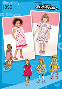 Sew-amp-Make-Simplicity-1890-SEWING-PATTERN-Girls-Project-Runway-DRESSES-sz-1-2-3
