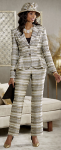 Cici 3 Pc Winter Wardrober Skirt Pant Suit Ashro Gold Black Church 14 16 16W
