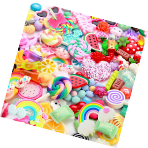 100pcs for Assorted Fruits Candy Sweets Flatback Resin Ca Slime Charms Cute Set