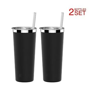2-SET-Double-Wall-Tumbler-Vacuum-Insulated-Stainless-Steel-Coffee-Cup-Lid-Straw