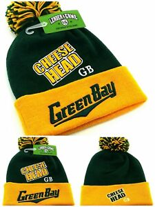 f2a4a7402 Green Bay New Leader Knit Beanie Pom Cheese Head Packers Green Gold ...