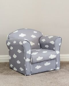 Details about Children's Grey and White Cloud Armchair Tub Chair Patterned Kids Comfy