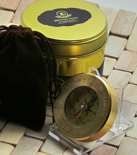 Engraved Brass Compass Personalised FREE ENGRAVING Luxury Gift Case BON VOYAGE