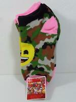 Girl's Six Pair Camo & Striped Emoji No Show Socks Set, Sock Sz 8-10