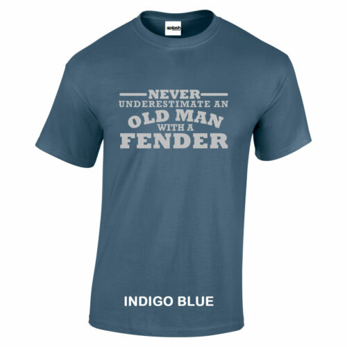 Fender Never Underestimate An Old Man With a Fender T SHIRT Silver text S to 5XL