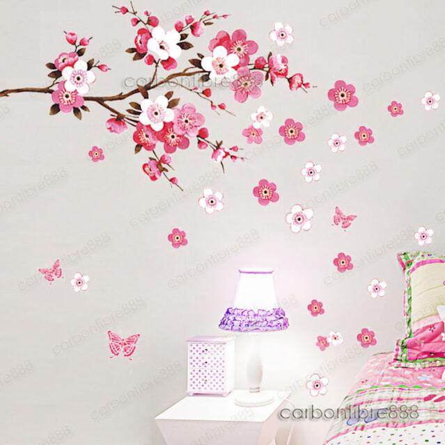 Grande Melocotón En Flor Flores Mariposa Pegatinas Adhesivas Para Pared