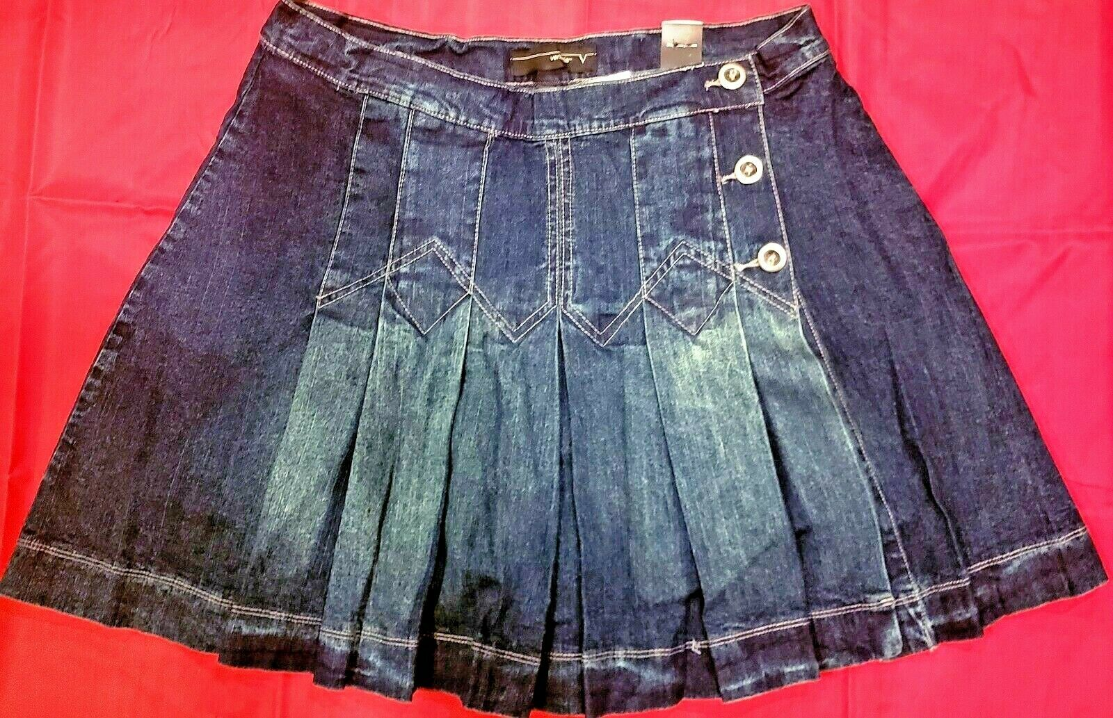 Venezia by Lane Bryant Pleated Jeans Skirt with Shorts Underneath- Size 18