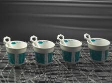 4 im Set Espresso Tasse mit Löffel Porzellan Bacio in Türkis von cilio