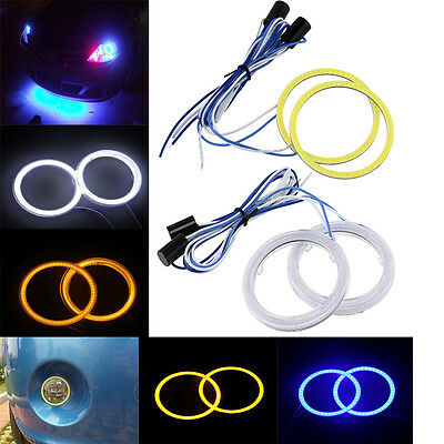2pcs 60/70/80/90/100/110mm Car Angel Eyes Headlight COB LED Halo Ring Fog Lamp