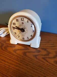 Vintage-Art-Deco-Telechron-Model-7H125-Alarm-Clock-Works
