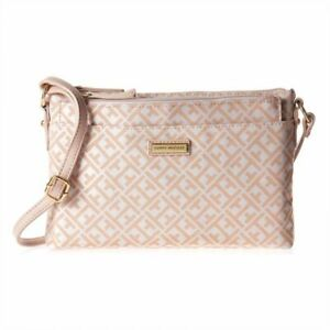 Details About Tommy Hilfiger Crossbody Bag For Women Canvas Off White Pink Free Shipping