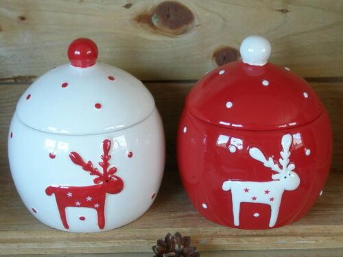 Keramik 2 Farben Vorratsbehälter Aufbewahrungsbehälter Elch Weihnachten