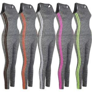 Damen-Weste-Lange-Leggings-Sport-Fitness-Satz-Damen-2-Line-Yoga-Outfit-S-XL