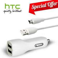 Original HTC Data Cable + Dual USB Fast Car Charger For HTC ONE M7 M8 M9 Desire