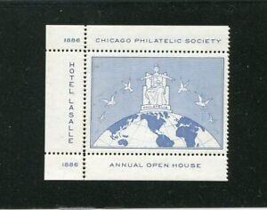 100% De Qualité Philatélique Label Stamp Chicago Philatélique Société 1936 Annual Open House-afficher Le Titre D'origine Blanc De Jade