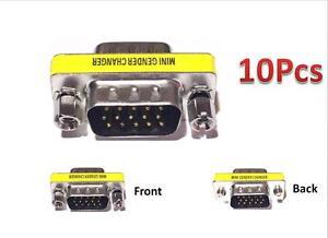 10pcs 15 HD//DB//15 VGA//SVGA KVM Gender Changer Adapter Male to Male M-M US Seller