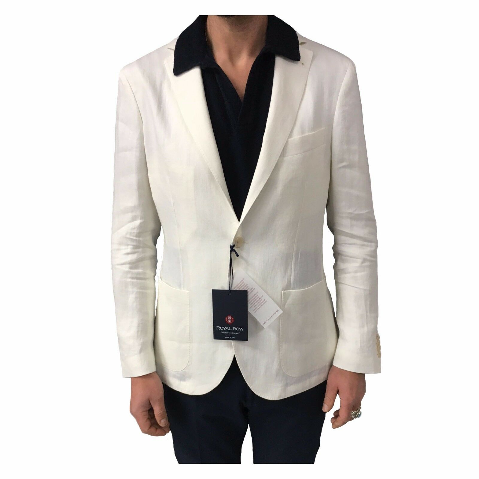 Royal Row Jacke Herren Ungefüttert Creme Mod London G90S Tragbarkeit Slim 100%