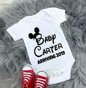 Personalised Disney announcement Baby Grow Vest Boys Girls Baby Shower Gift Date