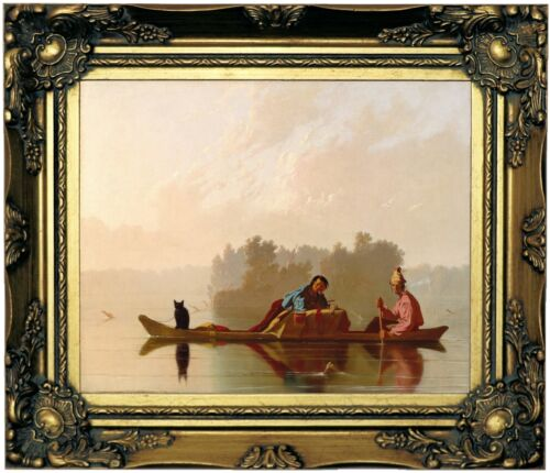 Bingham Fur Traders Descending the Missouri Wood Framed Canvas Print Repro 8x10