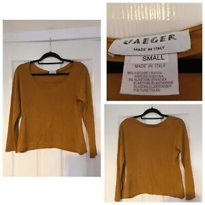 Jaeger-Women-Top-Blouse-Long-Sleeve-Dark-Orange-Size-S-Made-In-Italy-A294