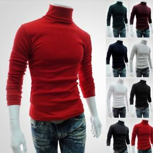 Men-Long-Sleeve-Pullover-High-Neck-Turtleneck-Stretch-Slim-Basic-T-Shirt-Tee-Top