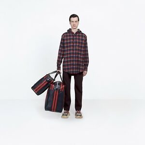 BALENCIAGA-795-Authentic-New-Red-Cotton-Hooded-Checked-Flannel-Shirt