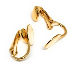 gold plated clip on earclip findings 9mm pad