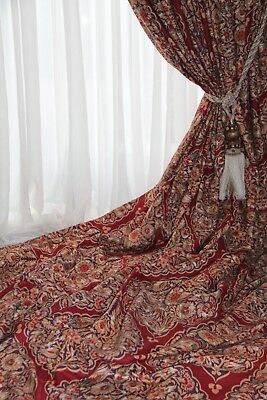 Huge Long French Country House Manuel Canovas DAMASK Interlined Curtains 11.5ft