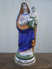 St Vierge Marie enfant Jésus faïence polychrome d'époque 19ème statue