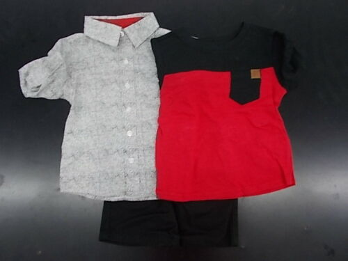 Toddler Boys American Hawk 3pc Black Red /& White Short Set Size 2T 4T