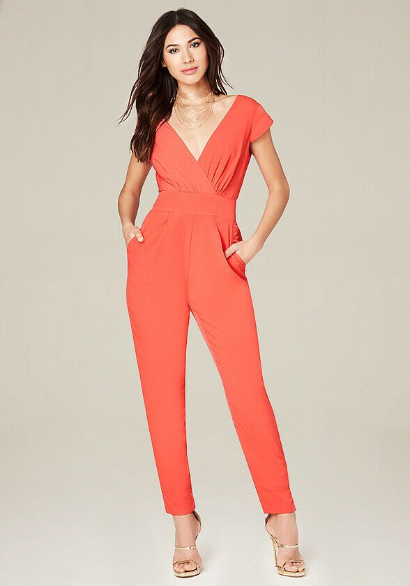 Nwt Bebe emma crepe bow rot (flame) jumpsuit jumper 4